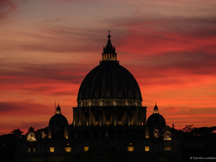 Italy-Rome-St. Peter`s Basilica-Evening